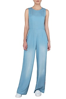 Blue Sleevesless Embroidered Jumpsuit by Anubha Jain