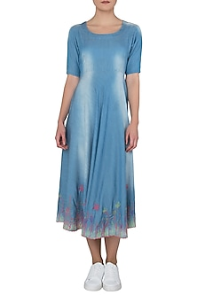 Blue Embroidered Kurta with Pants by Anubha Jain
