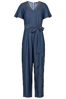 Blue Crop Jumpsuit by Anubha Jain