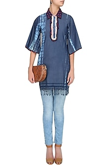 Blue Dual Printed Ruffle Detailing Alligator Denim Tunic by Anubha Jain