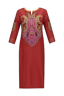 Red Paisley Patchwork Kurta