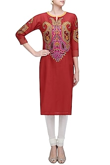 Red Paisley Patchwork Kurta by Abhijeet Khanna
