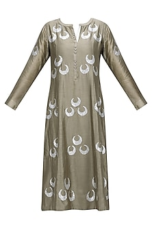 Metallic Grey Chand-Bali Motif Panelled Kurta