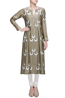 Metallic Grey Chand-Bali Motif Panelled Kurta by Abhijeet Khanna