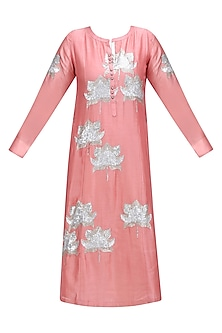 Pink Lotus Motif Embroidered Motif Panelled Kurta by Abhijeet Khanna