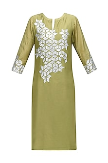 Gold Sequins Floral Design Kurta by Abhijeet Khanna