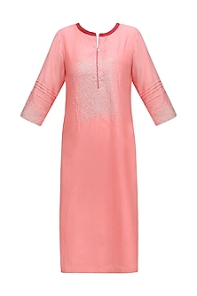 Pink Sequins Hand Embroidered Kurta by Abhijeet Khanna