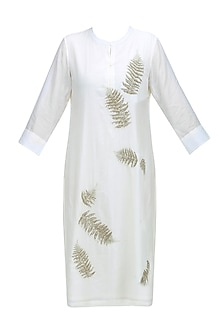 Ivory Fern Motifs Embroidered Kurta by Abhijeet Khanna