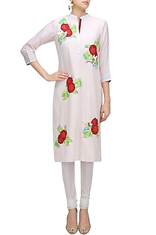 Light Pink Graphic Floral Patchwork Bird Motifs Kurta by Abhijeet Khanna