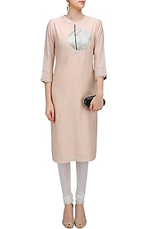 Pink Circular Sequins Embroidered Motif Kurta by Abhijeet Khanna