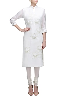 White Lotus Motif Patchwork Sequins Work Kurta by Abhijeet Khanna