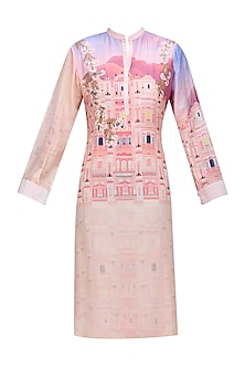 Pink Base Floral Creeper Work Digital Print Kurta by Abhijeet Khanna