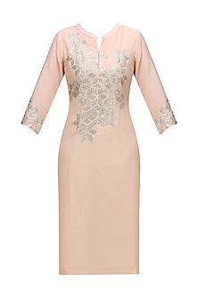 Pink Base Sequins Bead Work Digital Print Kurta by Abhijeet Khanna