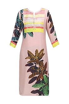 Peach Sequins Floral Design Kurta by Abhijeet Khanna