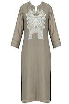 Grey Geometric Sequins Embroidered Tunic