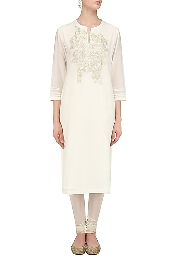 Ivory Sequins Hand Embroidered Tunic by Abhijeet Khanna