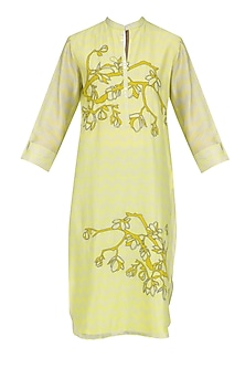 Yellow Digital Print and Applique Work Tunic