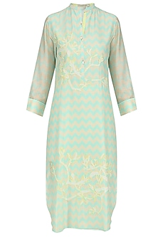 Mint Green Digital Print and Applique Work Tunic