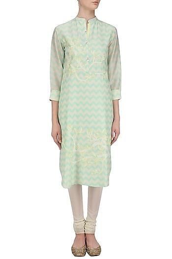 Mint Green Digital Print and Applique Work Tunic by Abhijeet Khanna