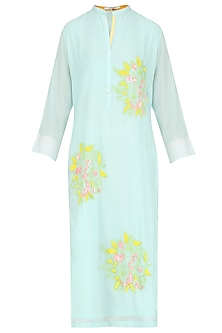 Mint Floral Motifs Embroidered Tunic by Abhijeet Khanna