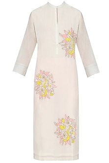 Ivory Floral Motifs Embroidered Tunic