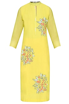 Yellow Floral Thread and Sequins Motifs Tunic