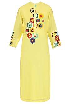 Yellow Geometric Patchwork Tunic