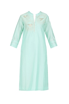 Mint Hand Embroidered Bird Motifs Tunic