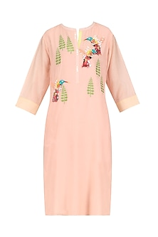 Peach Hand Embroidered Bird Motifs Tunic