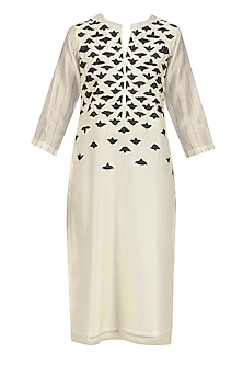 Ivory and Black Applique Work Tunic