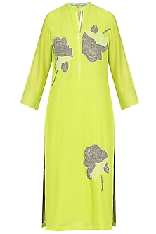 Lime Sequins Floral Motifs Tunic