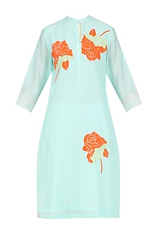 Mint Sequinned Floral Motifs Tunic