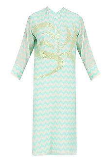 Mint Digital Print and Sequins Work Tunic