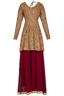 Red embroidered peplum anarkali gown with dupatta