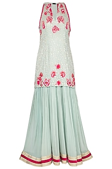 Soft blue embroidered anarkali gown with dupatta