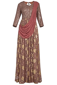 Rust brown embroidered  anarkali gown with draped dupatta