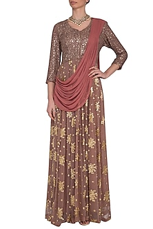 Rust brown embroidered  anarkali gown with draped dupatta by Abhi Singh