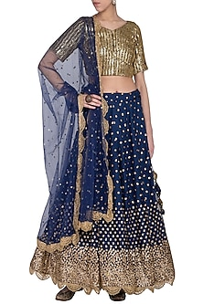 Midnight blue embroidered lehenga set by Abhi Singh