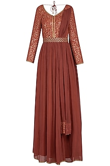 Rust embroidered anarkali gown with attached dupatta