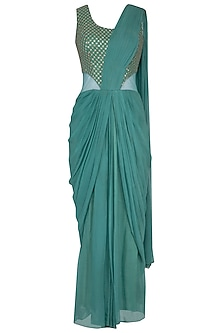 Teal embroidered drape saree gown by Abhi Singh
