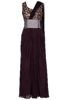 Wine embroidered drape saree gown by Abhi Singh