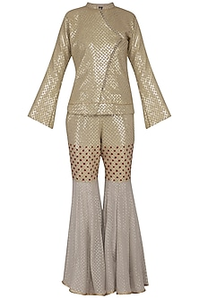Dull grey embroidered jacket with gharara pants by Abhi Singh