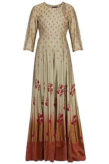 Grey to maroon ombre block printed anarkali gown with dupatta