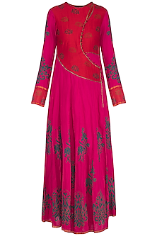 Red and fuschia block printed anarkali gown with dupatta