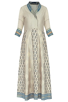 Grey block printed anarkali with dupatta