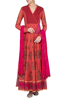 Peach block printed overlap anarkali gown with dupatta by Abhi Singh