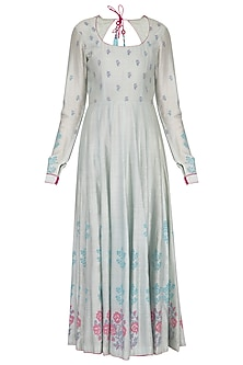 Powder blue block printed anarkali with dupatta