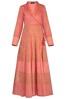 Peach block printed anarkali with dupatta