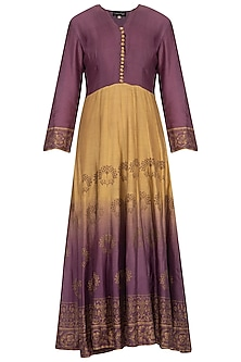 Purple and olive ombre block printed anarkali with dupatta