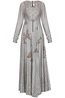 Ash grey blue block printed anarkali gown with dupatta